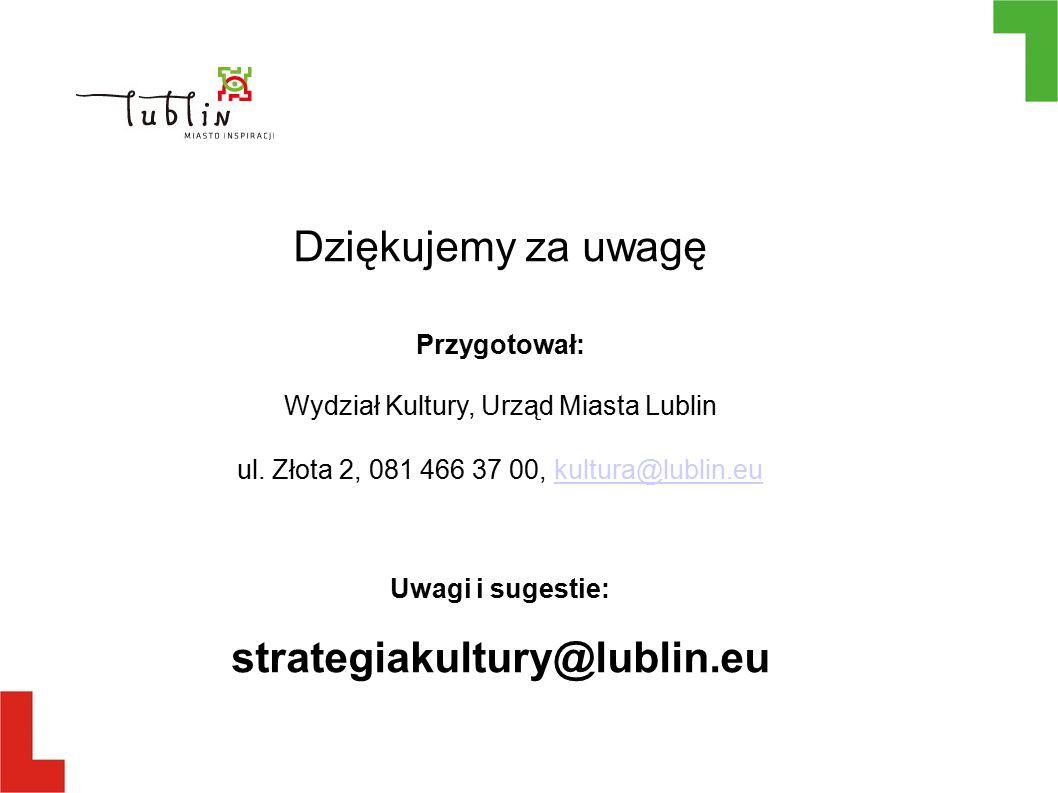 Dziękujemy za uwagę Przygotował: Wydział Kultury, Urząd Miasta Lublin ul.