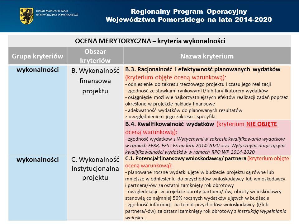Grupa kryteriów Obszar kryteriów Nazwa kryterium wykonalności B. Wykonalność finansowa projektu B.3. Racjonalność i efektywność planowanych wydatków (