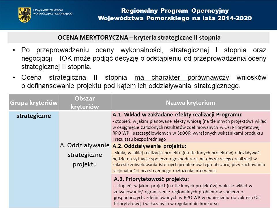 Grupa kryteriów Obszar kryteriów Nazwa kryterium strategiczne A.