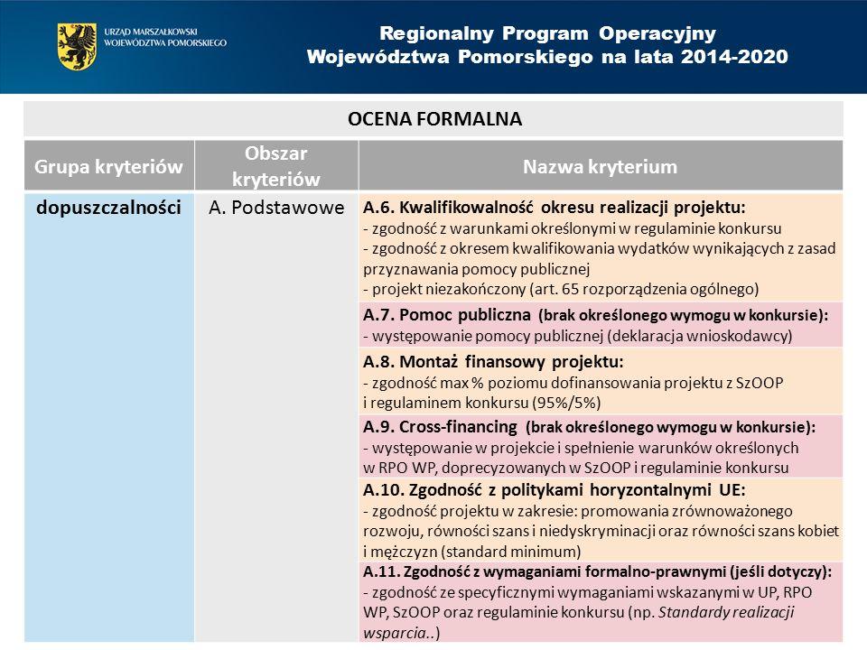Grupa kryteriów Obszar kryteriów Nazwa kryterium dopuszczalnościA.