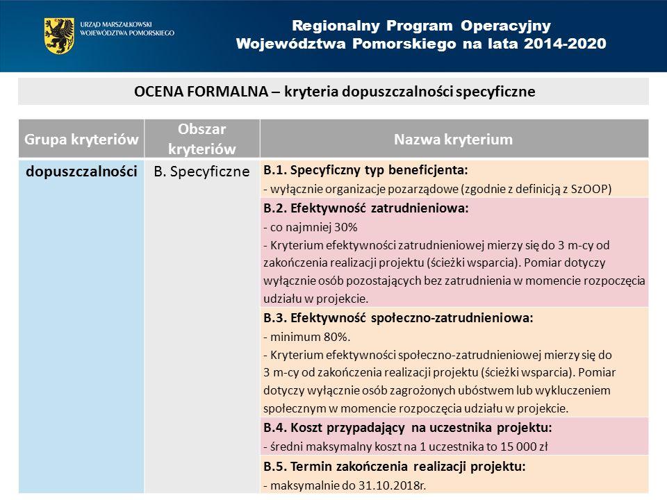 Grupa kryteriów Obszar kryteriów Nazwa kryterium dopuszczalności B. Specyficzne B.1. Specyficzny typ beneficjenta: - wyłącznie organizacje pozarządowe