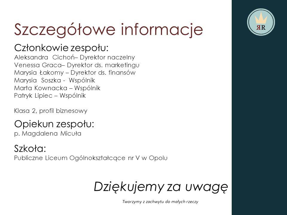 Szczegółowe informacje Członkowie zespołu: Aleksandra Cichoń– Dyrektor naczelny Venessa Graca– Dyrektor ds.