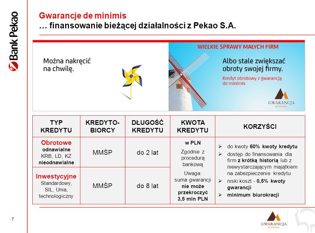 7 Gwarancje de minimis … finansowanie bieżącej działalności z Pekao S.A.