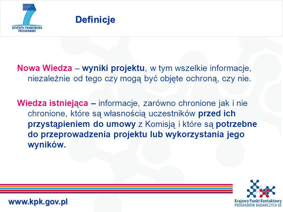 www.kpk.gov.pl Własność nowej wiedzy Właścicielem Nowej Wiedzy jest podmiot prowadzący prace, w wyniku, których ona powstała.