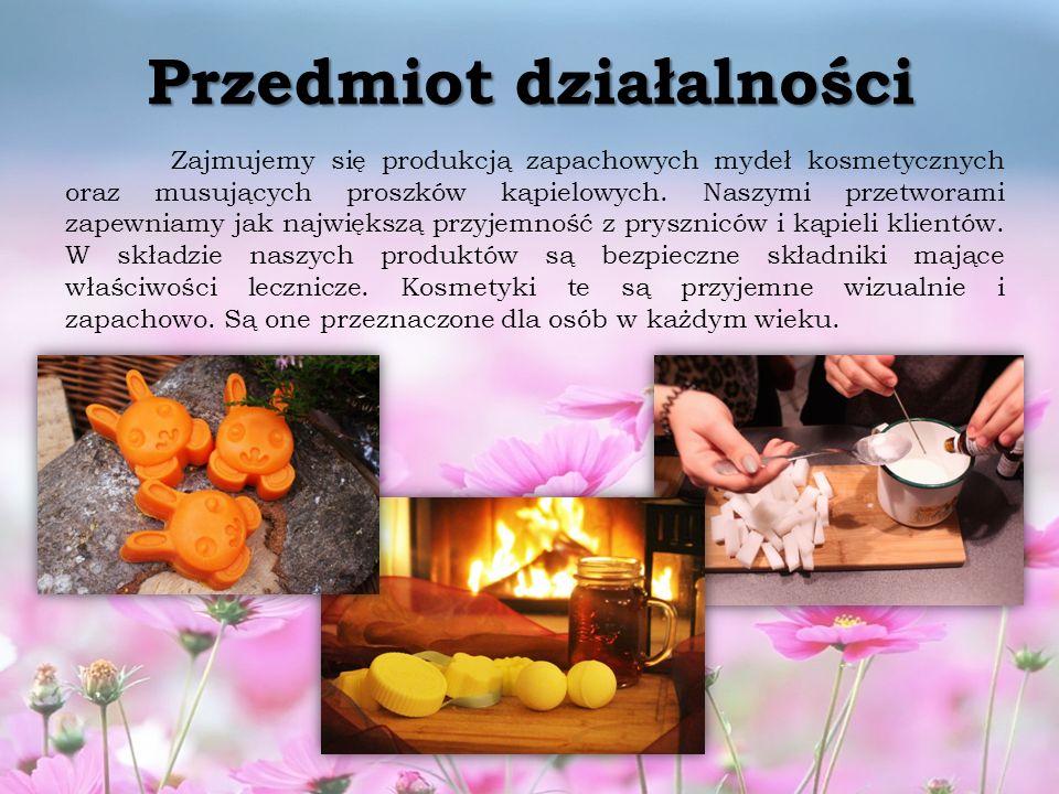 Przedmiot działalności Zajmujemy się produkcją zapachowych mydeł kosmetycznych oraz musujących proszków kąpielowych.