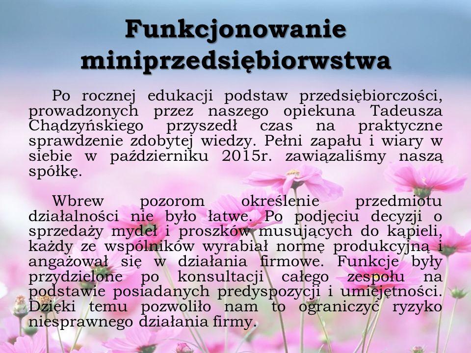 Funkcjonowanie miniprzedsiębiorwstwa Po rocznej edukacji podstaw przedsiębiorczości, prowadzonych przez naszego opiekuna Tadeusza Chądzyńskiego przyszedł czas na praktyczne sprawdzenie zdobytej wiedzy.
