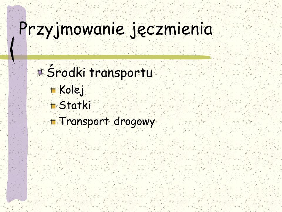 Przyjmowanie jęczmienia Środki transportu Kolej Statki Transport drogowy