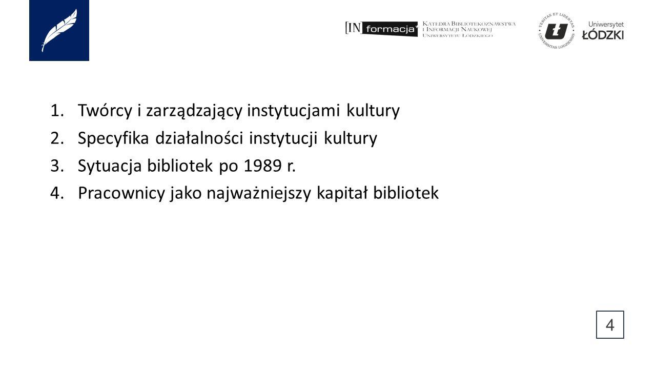 1.Twórcy i zarządzający instytucjami kultury 2.Specyfika działalności instytucji kultury 3.Sytuacja bibliotek po 1989 r. 4.Pracownicy jako najważniejs