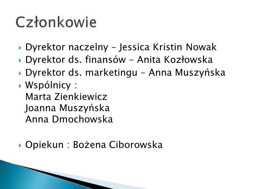  Dyrektor naczelny – Jessica Kristin Nowak  Dyrektor ds. finansów – Anita Kozłowska  Dyrektor ds. marketingu – Anna Muszyńska  Wspólnicy : Marta Z