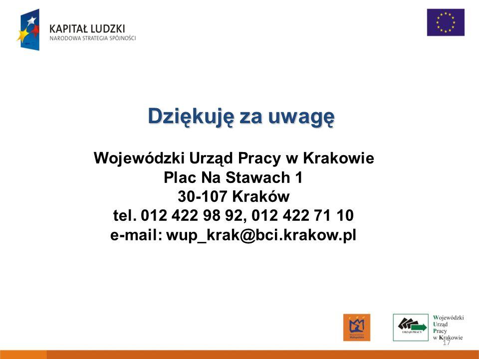 17 Dziękuję za uwagę Wojewódzki Urząd Pracy w Krakowie Plac Na Stawach 1 30-107 Kraków tel. 012 422 98 92, 012 422 71 10 e-mail: wup_krak@bci.krakow.p