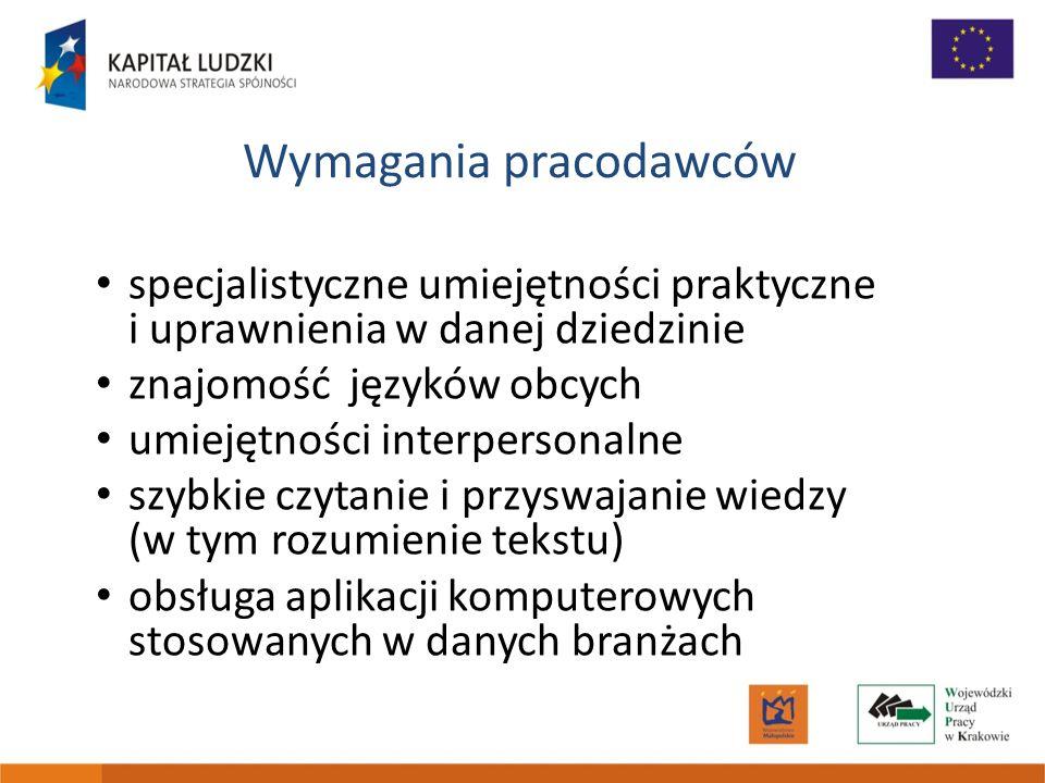 Wymagania pracodawców specjalistyczne umiejętności praktyczne i uprawnienia w danej dziedzinie znajomość języków obcych umiejętności interpersonalne s