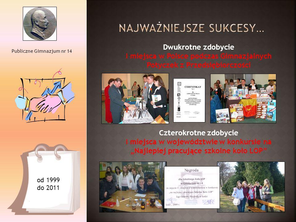 Publiczne Gimnazjum nr 14 Dwukrotne zdobycie I miejsca w Polsce podczas Gimnazjalnych Potyczek z Przedsiębiorczości Czterokrotne zdobycie I miejsca w