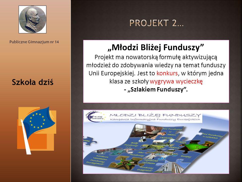 """Publiczne Gimnazjum nr 14 """"Młodzi Bliżej Funduszy"""" Projekt ma nowatorską formułę aktywizującą młodzież do zdobywania wiedzy na temat funduszy Unii Eur"""