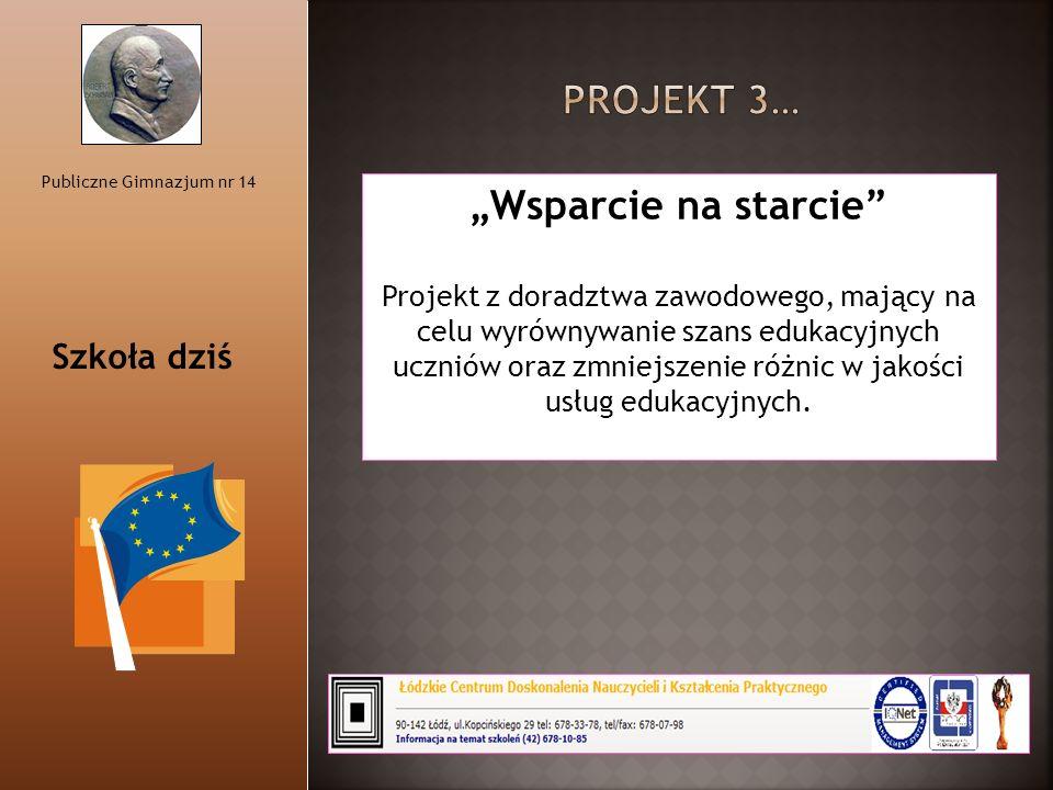 """Publiczne Gimnazjum nr 14 """"Wsparcie na starcie"""" Projekt z doradztwa zawodowego, mający na celu wyrównywanie szans edukacyjnych uczniów oraz zmniejszen"""