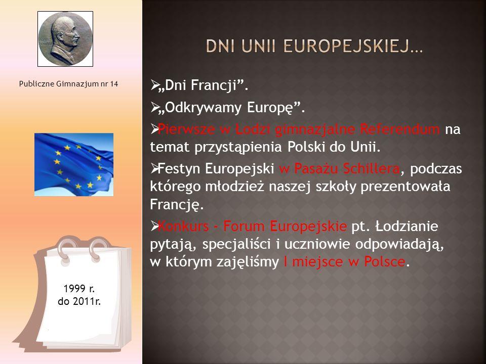 """ """"Dni Francji"""".  """"Odkrywamy Europę"""".  Pierwsze w Łodzi gimnazjalne Referendum na temat przystąpienia Polski do Unii.  Festyn Europejski w Pasażu S"""