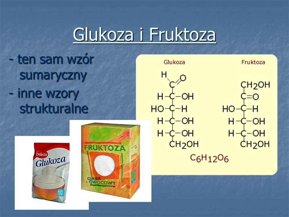 Glukoza i Fruktoza - ten sam wzór sumaryczny - inne wzory strukturalne