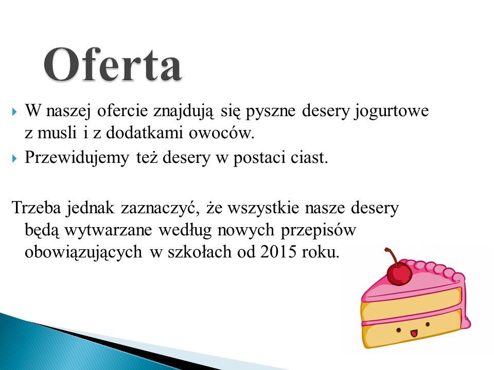  W naszej ofercie znajdują się pyszne desery jogurtowe z musli i z dodatkami owoców.  Przewidujemy też desery w postaci ciast. Trzeba jednak zaznacz