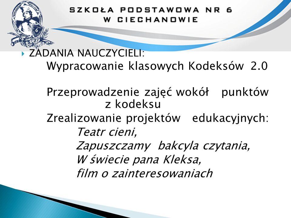  ZADANIA NAUCZYCIELI: Wypracowanie klasowych Kodeksów 2.0 Przeprowadzenie zajęć wokół punktów z kodeksu Zrealizowanie projektów edukacyjnych: Teatr c
