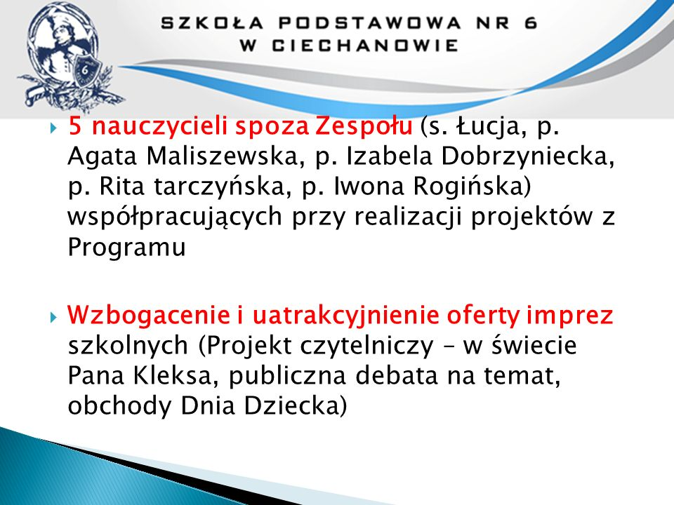  5 nauczycieli spoza Zespołu (s. Łucja, p. Agata Maliszewska, p. Izabela Dobrzyniecka, p. Rita tarczyńska, p. Iwona Rogińska) współpracujących przy r