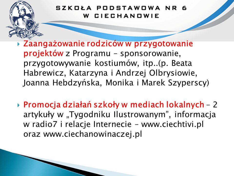  Zaangażowanie rodziców w przygotowanie projektów z Programu – sponsorowanie, przygotowywanie kostiumów, itp..(p. Beata Habrewicz, Katarzyna i Andrze