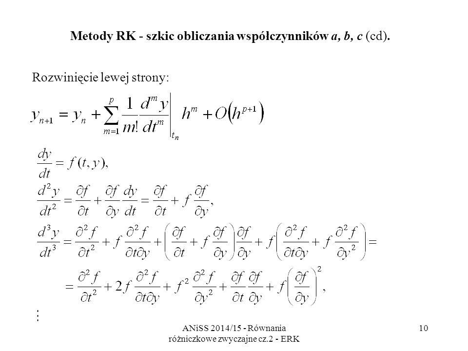 ANiSS 2014/15 - Równania różniczkowe zwyczajne cz.2 - ERK 11 Rozwinięcie prawej strony: Metody RK - szkic obliczania współczynników a, b, c (cd).