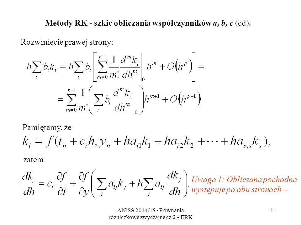 ANiSS 2014/15 - Równania różniczkowe zwyczajne cz.2 - ERK 12 Dalsze pochodne mają coraz więcej składników, np.: Metody RK - szkic obliczania współczynników a, b, c (cd).