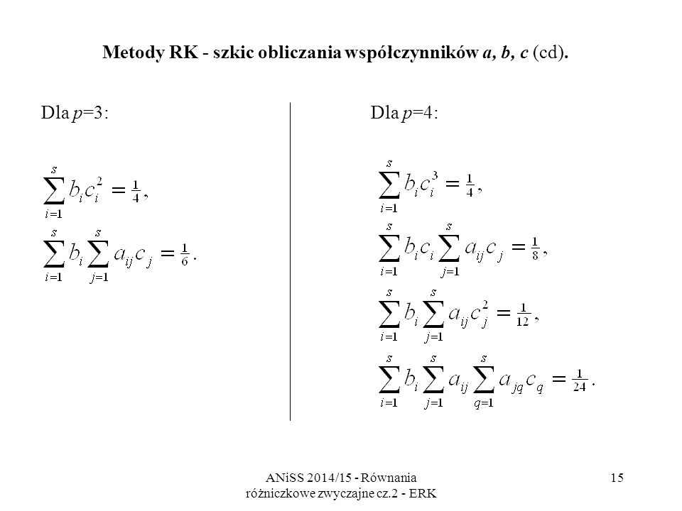 ANiSS 2014/15 - Równania różniczkowe zwyczajne cz.2 - ERK 16 Metody RK - rząd Liczba związków rośnie ze wzrostem żądanego rzędu.