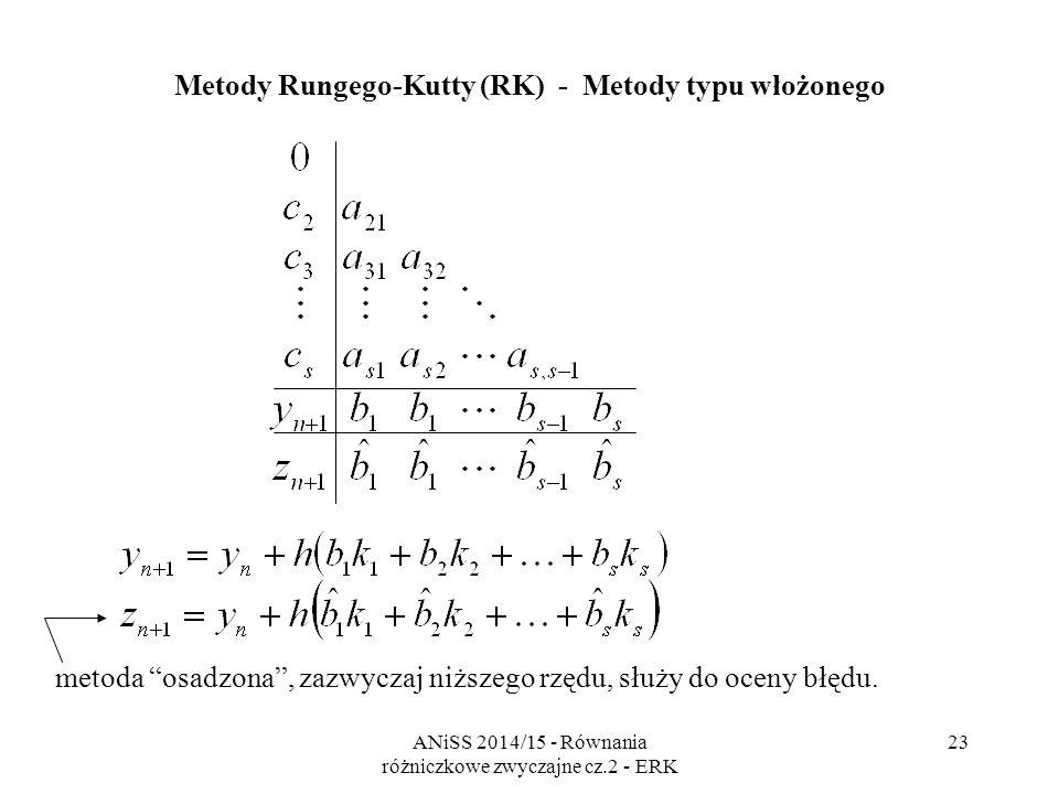 ANiSS 2014/15 - Równania różniczkowe zwyczajne cz.2 - ERK 24 Metody Rungego-Kutty (RK) Przykłady jawnych metod Rungego-Kutty z osadzoną metodą niższego rzędu - ode23 Bogacki-Shampine (1989) 3.