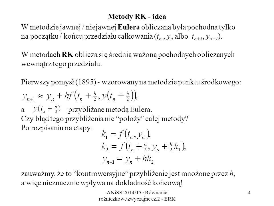 ANiSS 2014/15 - Równania różniczkowe zwyczajne cz.2 - ERK 5 Metody Rungego-Kutty (RK) Jawne metody Rungego-Kutty (explicit Runge-Kutta ERK) - rzędu s lub mniejszego, - jednokrokowe, wieloetapowe (s - etapowe).
