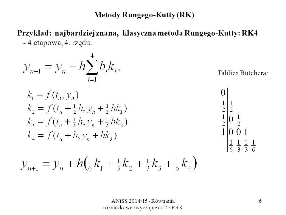 ANiSS 2014/15 - Równania różniczkowe zwyczajne cz.2 - ERK 7 Metody Rungego-Kutty Zalety i wady w stosunku do LMWK - wyższy koszt jednego kroku - dla obliczenia każdej pochodnej k i trzeba wyznaczyć wartość funkcji f, - samostartujące, - łatwość zmiany kroku - ważna dla algorytmów adaptacyjnych.