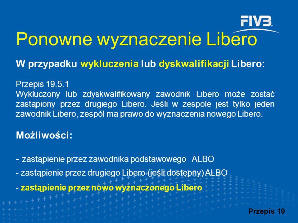 W przypadku wykluczenia lub dyskwalifikacji Libero: Przepis 19.5.1 Wykluczony lub zdyskwalifikowany zawodnik Libero może zostać zastąpiony przez drugi
