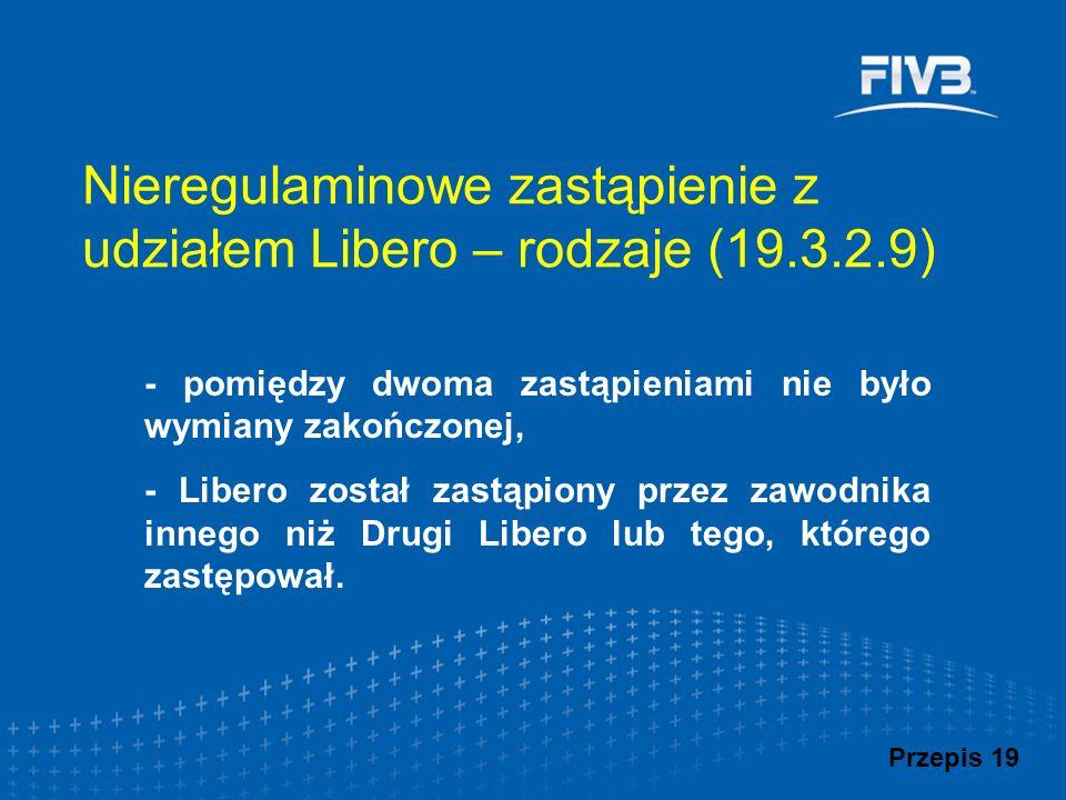 Nieregulaminowe zastąpienie z udziałem Libero – rodzaje (19.3.2.9) - pomiędzy dwoma zastąpieniami nie było wymiany zakończonej, - Libero został zastąp