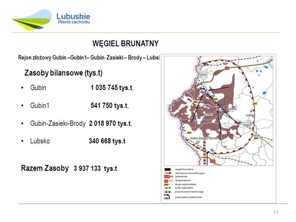 13 Rejon złożowy Gubin –Gubin1– Gubin- Zasieki – Brody – Lubsko 27 5 WĘGIEL BRUNATNY Gubin 1 035 745 tys.t, Gubin1 541 750 tys.t, Gubin-Zasieki-Brody 2 018 970 tys.t, Lubsko 340 668 tys.t Razem Zasoby 3 937 133 tys.t Zasoby bilansowe (tys.t)