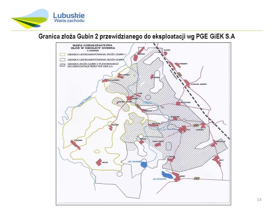 14 Granica złoża Gubin 2 przewidzianego do eksploatacji wg PGE GiEK S.A