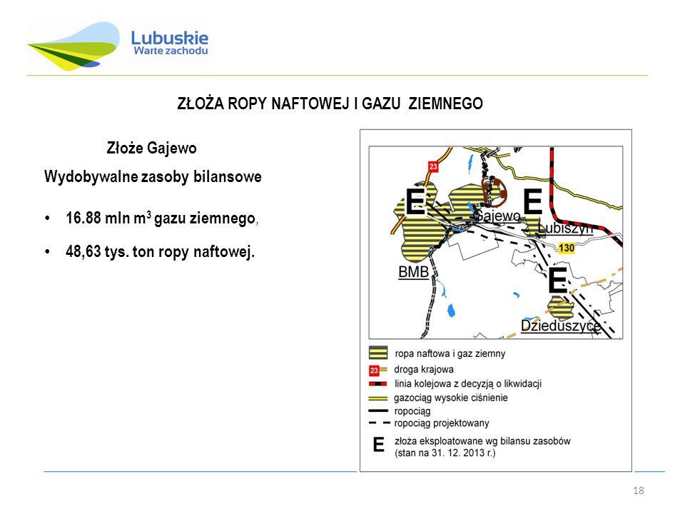 18 ZŁOŻA ROPY NAFTOWEJ I GAZU ZIEMNEGO Złoże Gajewo Wydobywalne zasoby bilansowe 16.88 mln m 3 gazu ziemnego, 48,63 tys.