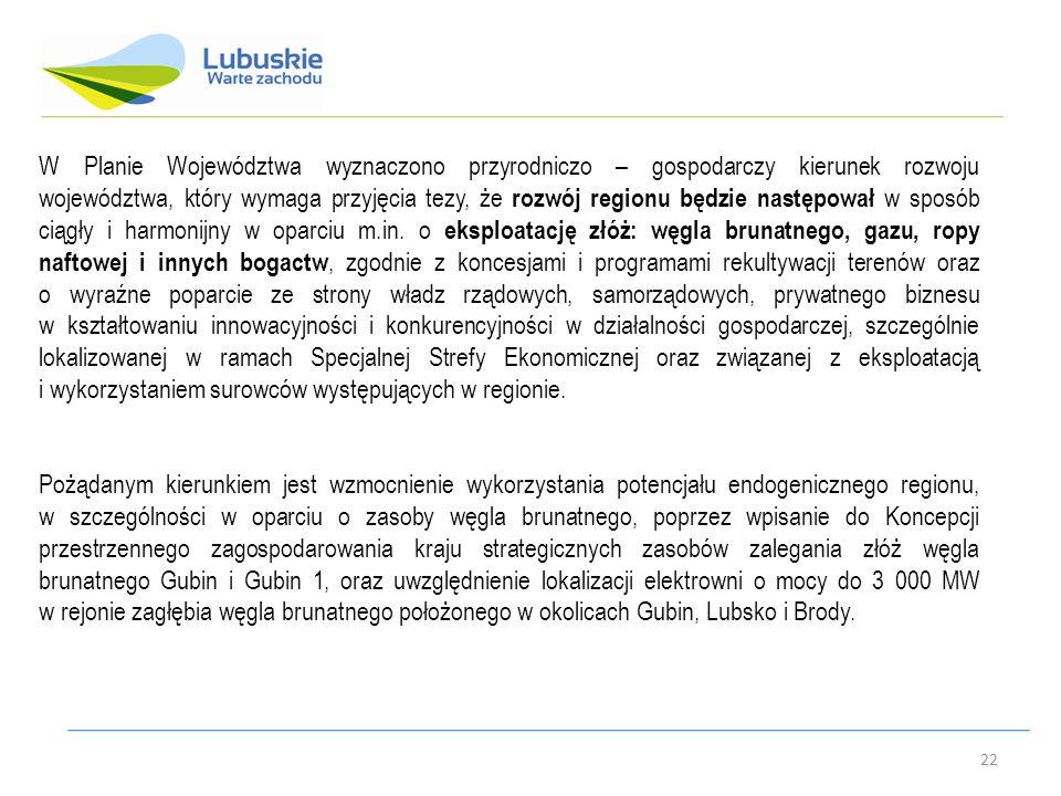 22 W Planie Województwa wyznaczono przyrodniczo – gospodarczy kierunek rozwoju województwa, który wymaga przyjęcia tezy, że rozwój regionu będzie następował w sposób ciągły i harmonijny w oparciu m.in.