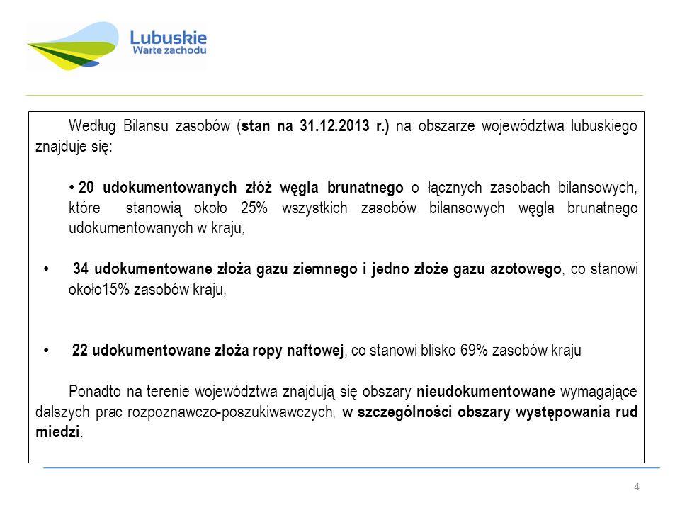Według Bilansu zasobów ( stan na 31.12.2013 r.) na obszarze województwa lubuskiego znajduje się: 20 udokumentowanych złóż węgla brunatnego o łącznych zasobach bilansowych, które stanowią około 25% wszystkich zasobów bilansowych węgla brunatnego udokumentowanych w kraju, 34 udokumentowane złoża gazu ziemnego i jedno złoże gazu azotowego, co stanowi około15% zasobów kraju, 22 udokumentowane złoża ropy naftowej, co stanowi blisko 69% zasobów kraju Ponadto na terenie województwa znajdują się obszary nieudokumentowane wymagające dalszych prac rozpoznawczo-poszukiwawczych, w szczególności obszary występowania rud miedzi.