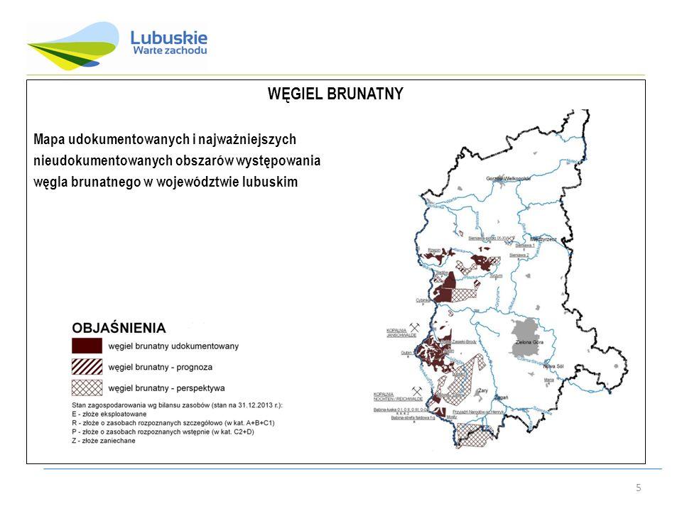 5 WĘGIEL BRUNATNY Mapa udokumentowanych i najważniejszych nieudokumentowanych obszarów występowania węgla brunatnego w województwie lubuskim