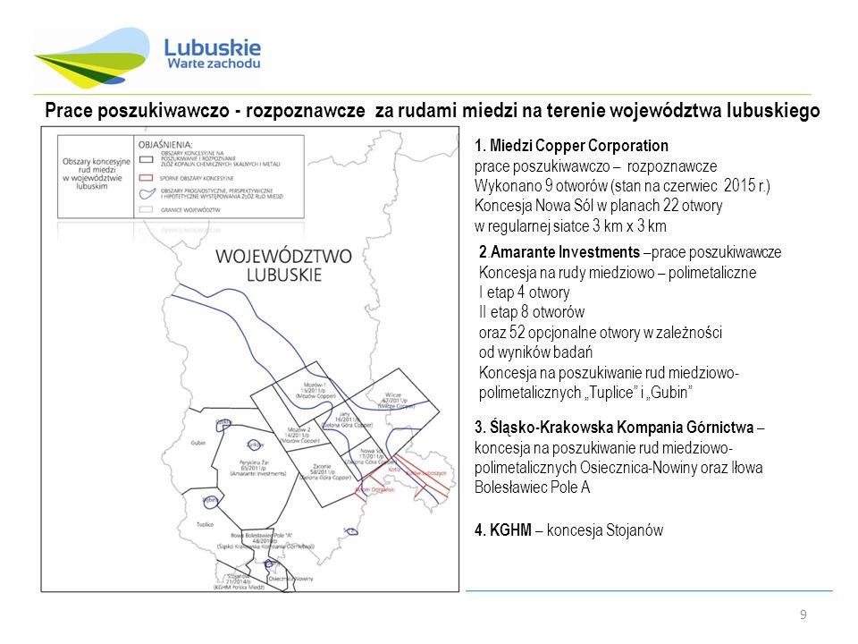 9 Prace poszukiwawczo - rozpoznawcze za rudami miedzi na terenie województwa lubuskiego 1. Miedzi Copper Corporation prace poszukiwawczo – rozpoznawcz