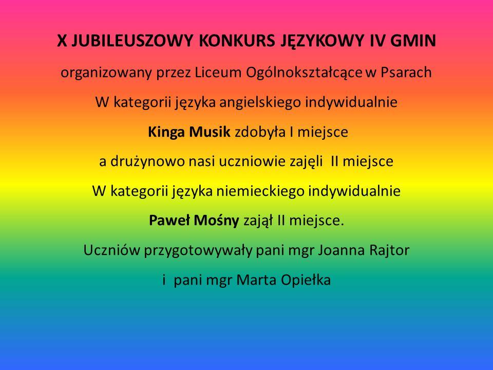 X JUBILEUSZOWY KONKURS JĘZYKOWY IV GMIN organizowany przez Liceum Ogólnokształcące w Psarach W kategorii języka angielskiego indywidualnie Kinga Musik zdobyła I miejsce a drużynowo nasi uczniowie zajęli II miejsce W kategorii języka niemieckiego indywidualnie Paweł Mośny zajął II miejsce.