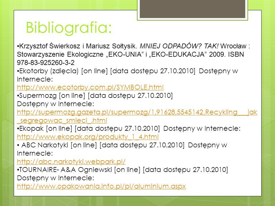 Bibliografia: Krzysztof Świerkosz i Mariusz Sołtysik.