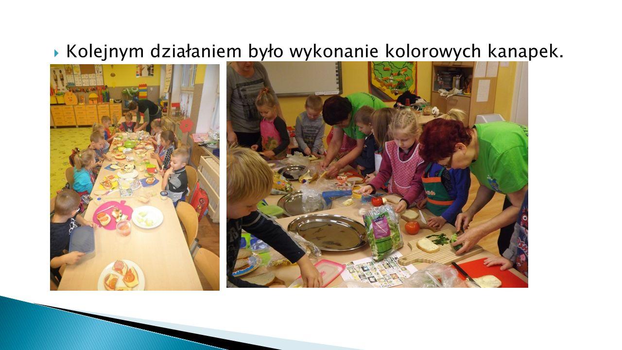  Kolejnym działaniem było wykonanie kolorowych kanapek.