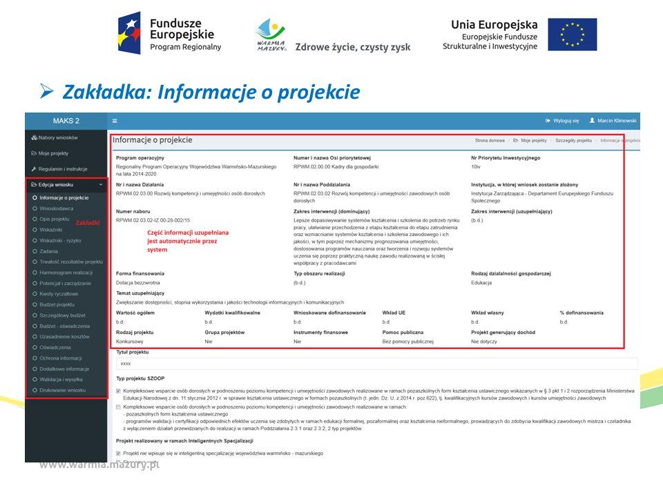  Zakładka: Informacje o projekcie