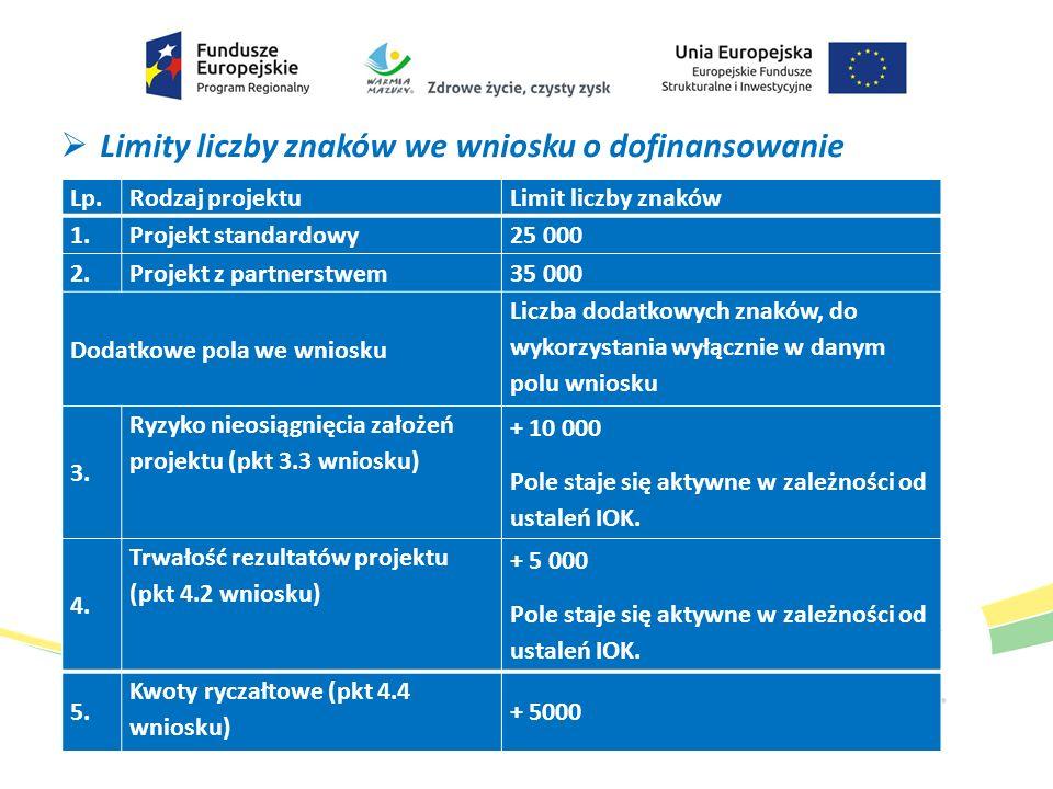  Limity liczby znaków we wniosku o dofinansowanie Lp.Rodzaj projektuLimit liczby znaków 1.