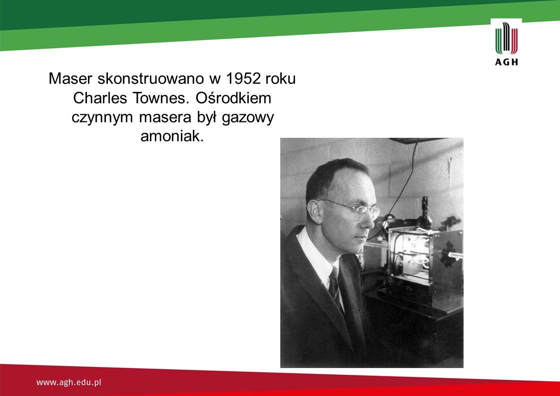 Maser skonstruowano w 1952 roku Charles Townes. Ośrodkiem czynnym masera był gazowy amoniak.