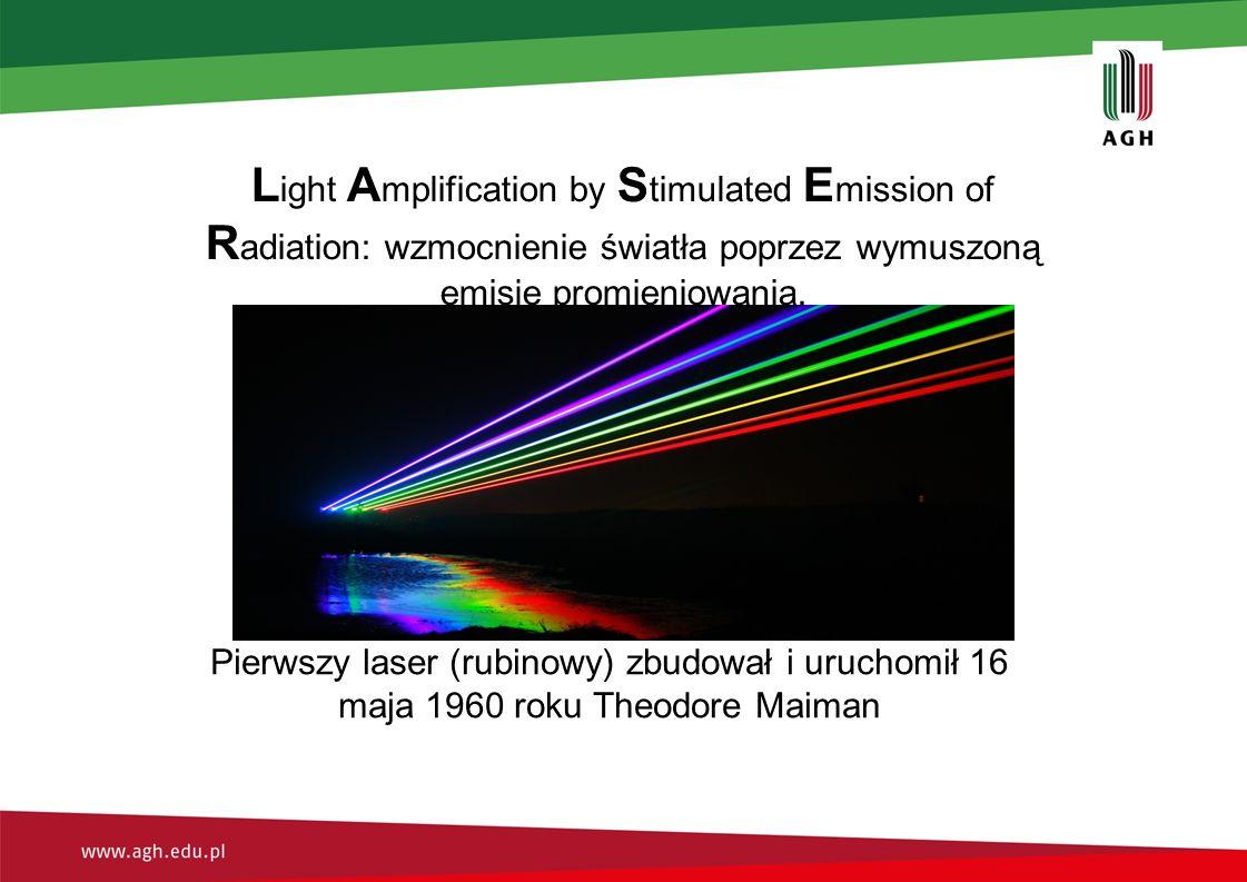 L ight A mplification by S timulated E mission of R adiation: wzmocnienie światła poprzez wymuszoną emisję promieniowania.