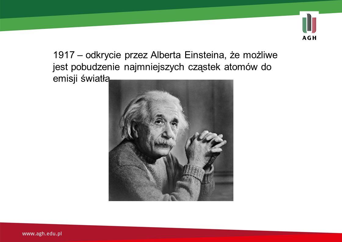 1917 – odkrycie przez Alberta Einsteina, że możliwe jest pobudzenie najmniejszych cząstek atomów do emisji światła