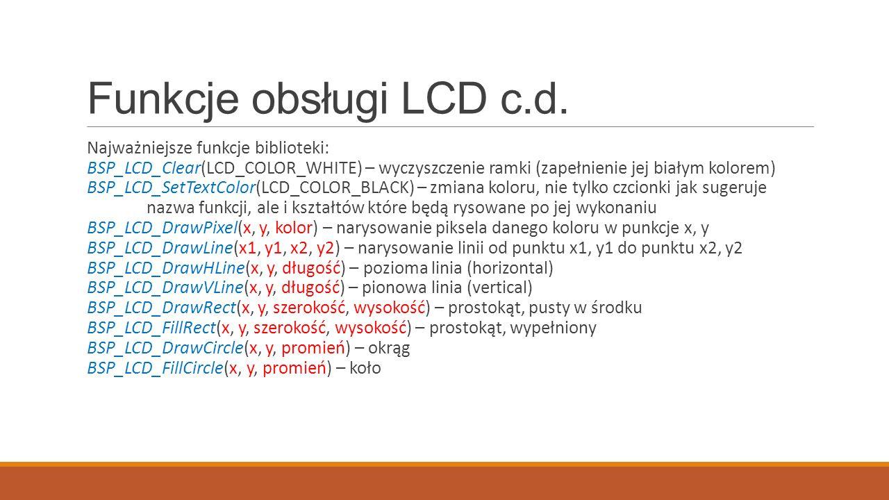 Funkcje obsługi LCD c.d.