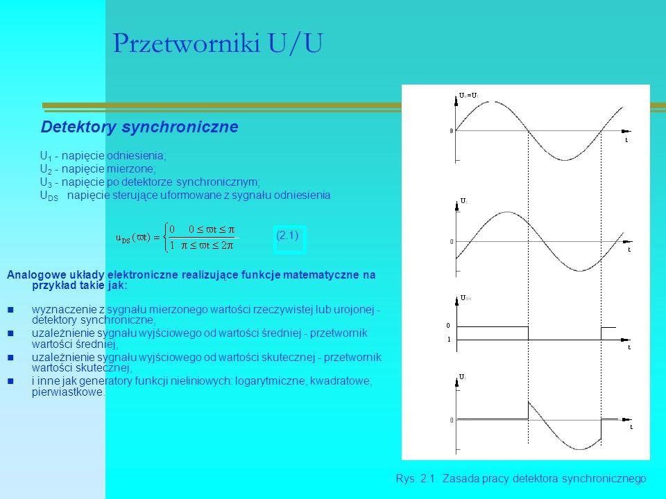 Przetworniki U/U Analogowe układy elektroniczne realizujące funkcje matematyczne na przykład takie jak: wyznaczenie z sygnału mierzonego wartości rzeczywistej lub urojonej - detektory synchroniczne, uzależnienie sygnału wyjściowego od wartości średniej - przetwornik wartości średniej, uzależnienie sygnału wyjściowego od wartości skutecznej - przetwornik wartości skutecznej, i inne jak generatory funkcji nieliniowych: logarytmiczne, kwadratowe, pierwiastkowe.