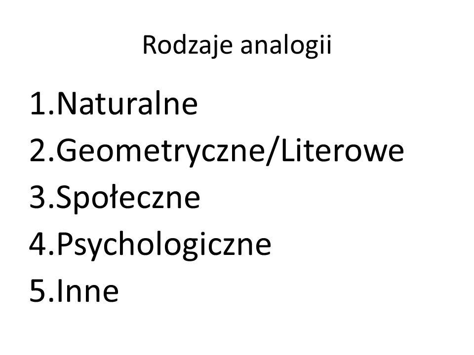 Rodzaje analogii 1.Naturalne 2.Geometryczne/Literowe 3.Społeczne 4.Psychologiczne 5.Inne